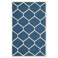 Safavieh Cambridge 5-Foot x 8-Foot Jayme Wool Rug in Navy Blue/Ivory