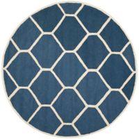 Safavieh Cambridge 6-Foot x 6-Foot Jayme Wool Rug in Navy Blue/Ivory