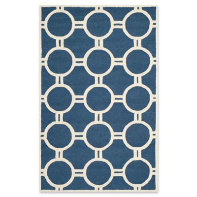 Safavieh Cambridge 5 Foot X 8 Foot Morgan Wool Rug In Navy Blue/