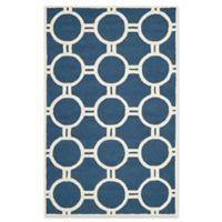 Safavieh Cambridge 5-Foot x 8-Foot Morgan Wool Rug in Navy Blue/Ivory