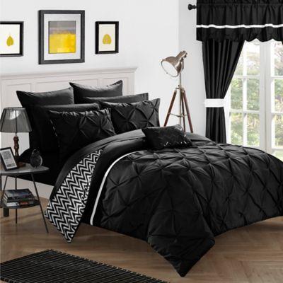 Chic Home Fortville Reversible Queen Comforter Set In Black