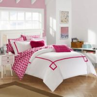 Chic Home Dawson 9-Piece King Reversible Comforter Set in Fuchsia