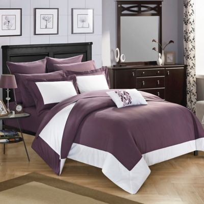 chic home bathilda 7piece twin reversible comforter set in plum - Purple Comforters