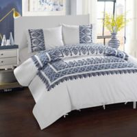 Chic Home Birch Garden King Duvet Cover Set in Navy/White