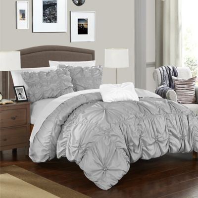 Chic Home Zach Queen Duvet Cover Set In Silver