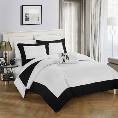chic home yancy queen reversible duvet cover set in black