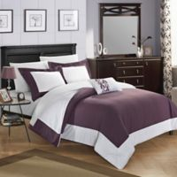 Chic Home Yancy Queen Reversible Duvet Cover Set in Plum