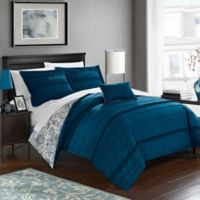 Chic Home Clover Reversible Twin Duvet Cover Set in Navy