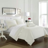 Chic Home Odin Combed Cotton Queen Duvet Cover Set in White