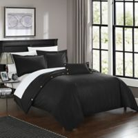 Chic Home Odin Combed Cotton Queen Duvet Cover Set in Black