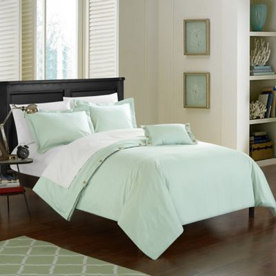 Chic Home Odin Combed Cotton King Duvet Cover Set In Aqua