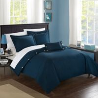 Chic Home Odin Combed Cotton Twin Duvet Cover Set in Navy