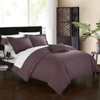 Chic Home Odin Combed Cotton Queen Duvet Cover Set in Purple