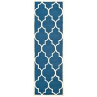 Safavieh Cambridge 2-Foot 6-Inch x 18-Foot Tara Wool Rug in Navy /Ivory