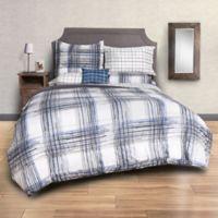 Sydney Plaid 8-Piece King Comforter Set in Black/Blue