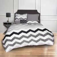 Greytone Chevron 8-Piece Full Comforter Set in Grey
