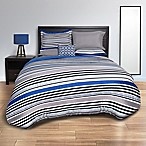 Striped Blue 8-Piece Queen Comforter Set in Blue/Grey