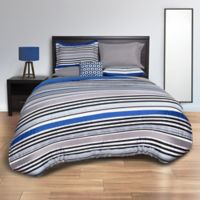 Striped Blue 8-Piece Full Comforter Set in Blue/Grey