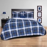 Striking Plaid 8-Piece Full Comforter Set in Black/Navy