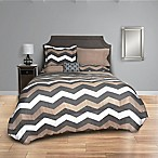 Taupe Chevron 8-Piece Queen Comforter Set in Taupe/Grey