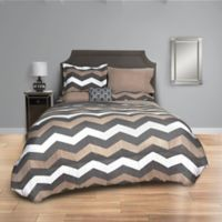 Taupe Chevron 8-Piece Full Comforter Set in Taupe/Grey