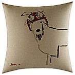 ED Ellen DeGeneres Alhambra Goat Helmet Square Throw Pillow in Flax