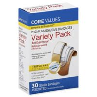 Core Values™ 30-Count Antibacterial Variety Pack Adhesive Bandages