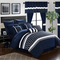 Chic Home Molly 24-Piece Queen Comforter Set in Navy