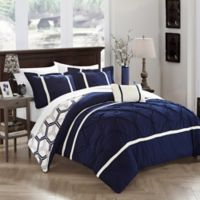 Chic Home Eula 4-Piece Reversible King Comforter Set in Navy