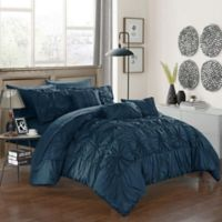 Chic Home Sheffield 10-Piece Queen Comforter Set in Navy