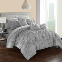Chic Home Sheffield 10-Piece Queen Comforter Set in Grey