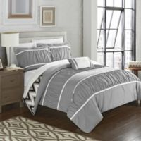 Chic Home Lucia 4-Piece Reversible Full/Queen Comforter Set in Grey