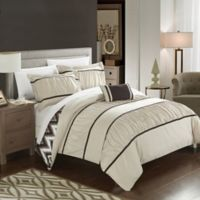 Chic Home Lucia 4-Piece Reversible Full/Queen Comforter Set in Beige