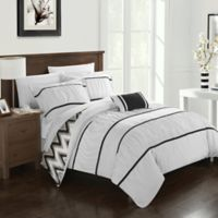 Chic Home Lucia 4-Piece Reversible Full/Queen Comforter Set in White