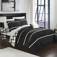 Chic Home Lucia 4-Piece Reversible Full/Queen Comforter Set in Black