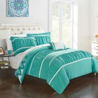 Chic Home Lucia 4-Piece Reversible Full/Queen Comforter Set in Turquoise