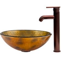 Vigo Copper Shapes VG07024 16.5-Inch Glass Vessel Sink with Seville Faucet in Oil Rubbed Bronze