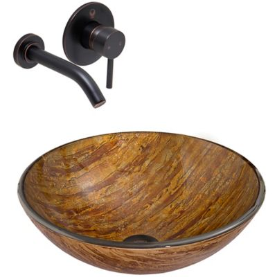 vigo vgt343 amber sunset glass sink and vessel olus wall mount faucet set in antique rubbed - Bronze Bathroom Faucet