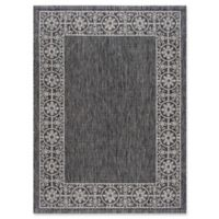 Tayse Rugs Veranda Border 5-Foot 3-Inch x 7-Foot 3-Inch Indoor/Outdoor Area Rug in Black