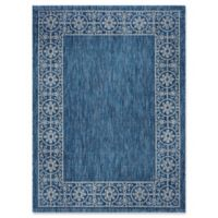 Tayse Rugs Veranda Border 5-Foot 3-Inch x 7-Foot 3-Inch Indoor/Outdoor Area Rug in Indigo