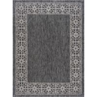 Tayse Rugs Veranda Border 6-Foot 7-Inch x 9-Foot 6-Inch Indoor/Outdoor Area Rug in Black