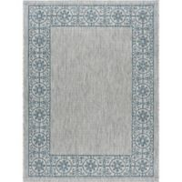 Tayse Rugs Veranda Border 6-Foot 7-Inch x 9-Foot 6-Inch Indoor/Outdoor Area Rug in Teal