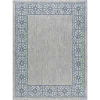 Tayse Rugs Veranda Border 7-Foot 10-Inch x 10-Foot 3-Inch Indoor/Outdoor Area Rug in Teal