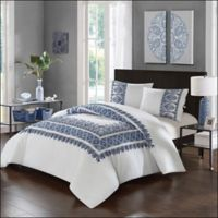 Chic Home Birch Garden Full/Queen Comforter Set in Navy/White