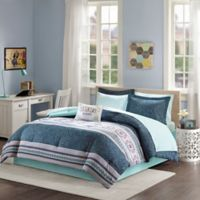 Intelligent Design Gemma 7-Piece Twin Comforter Set in Blue