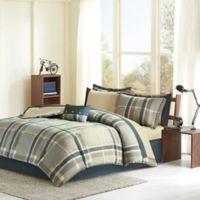 Intelligent Design Robbie 9-Piece Full Comforter Set in Navy/Taupe