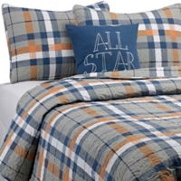 Plaid Full/Queen Quilt Set in Orange