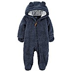 carter's® Size 3M Hooded Sherpa Bunting in Navy