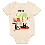 I'm the Reason Mom & Dad are Thankful  Size 9M Bodysuit in Cream