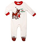 Baby's First Christmas  Size 6M Rudolph Footie in Ivory